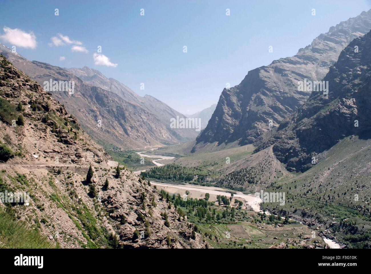 Bhaga river flowing in Bhaga valley ; Keylong ; Himachal Pradesh ; India - Stock Image
