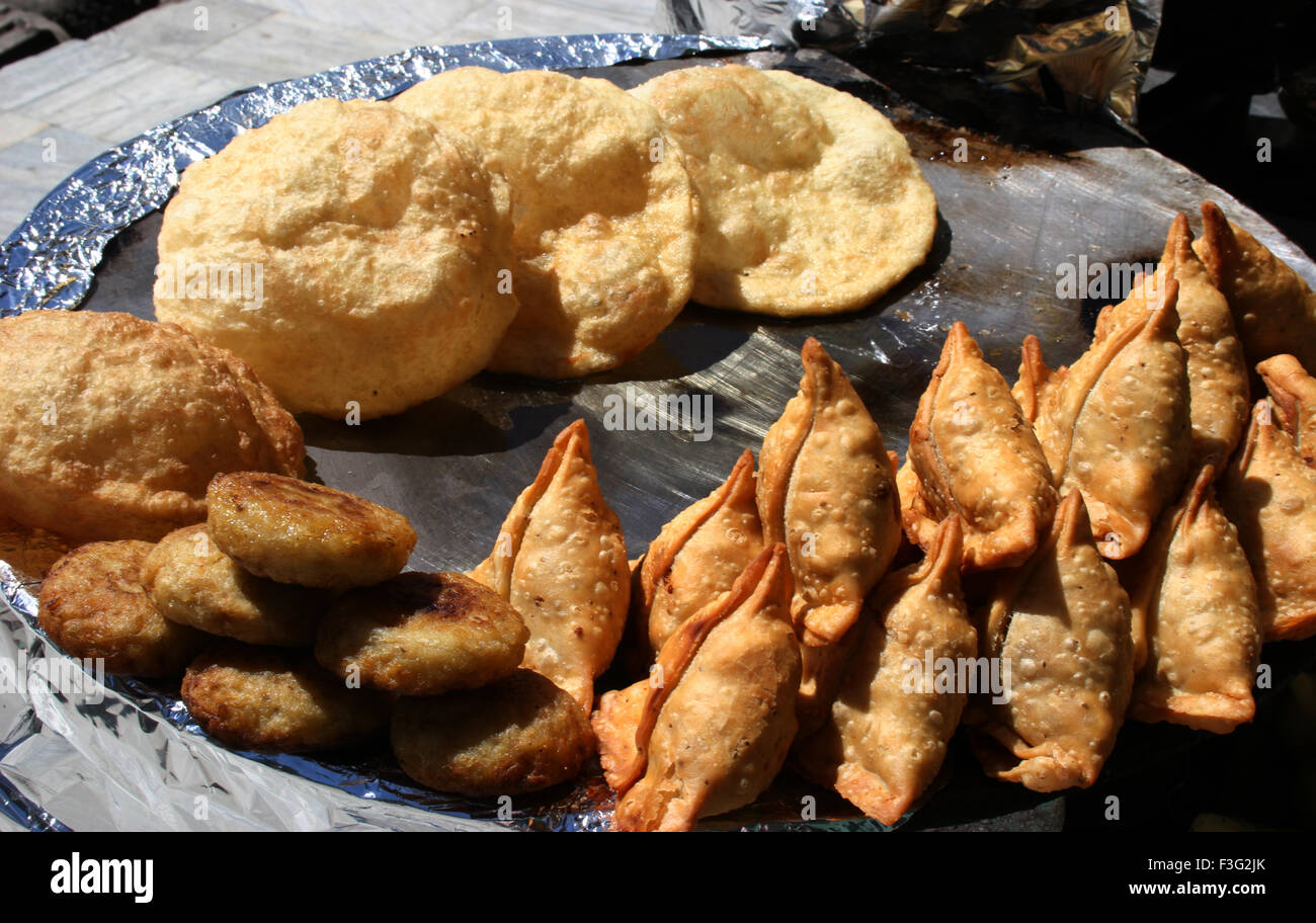 Tempting food Samosa ; Pattice and Bhature ; Manali ; Himachal Pradesh ; India - Stock Image