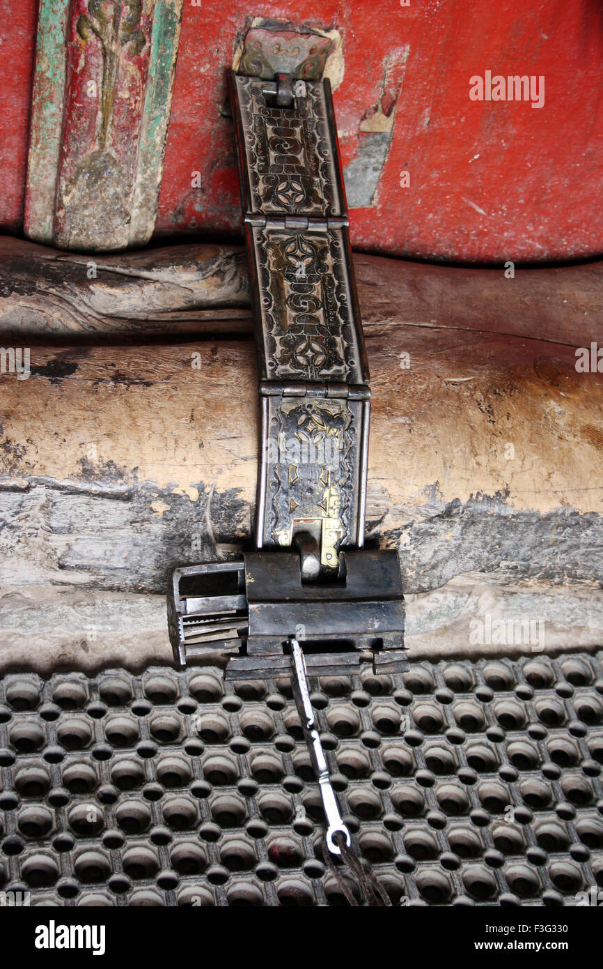 Antique lock at Hemis monastery one of largest and most important of all monastic establishments of Ladakh ; Leh - Stock Image