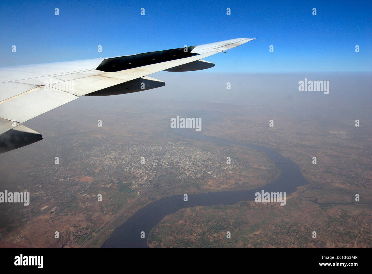 Images from aero plane in flight before landing ; Mumbai Bombay ; Maharashtra ; India - Stock Image