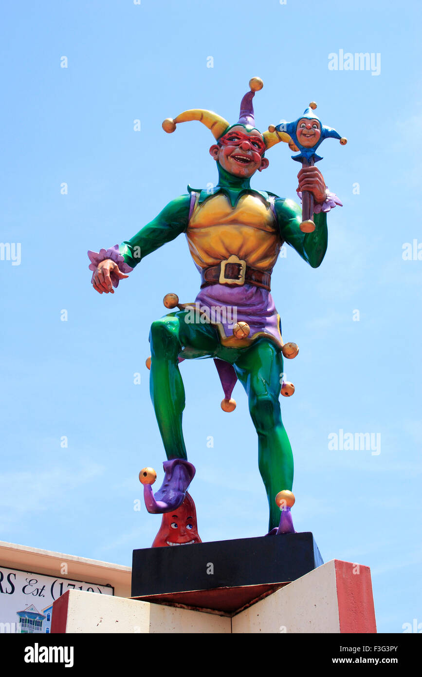 Mardi Gras statue ; New Orleans ; Louisiana ; U.S.A. United States of America - Stock Image