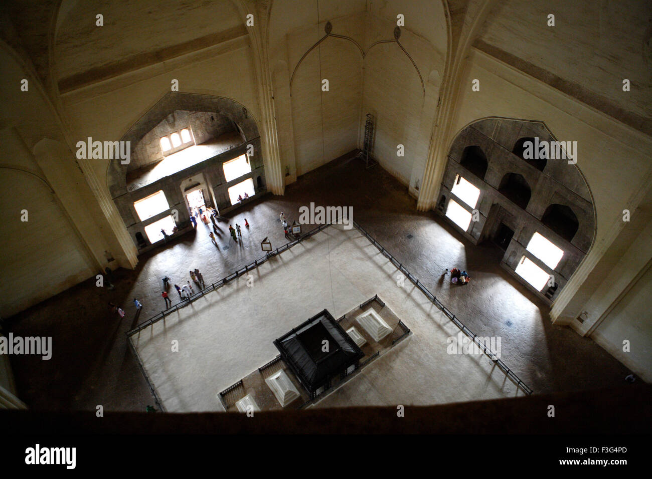 Gol Gumbaz ; built in 1659 ; mausoleum of Muhammad Adil Shah II family caskets stand raised platform Bijapur Karnataka - Stock Image