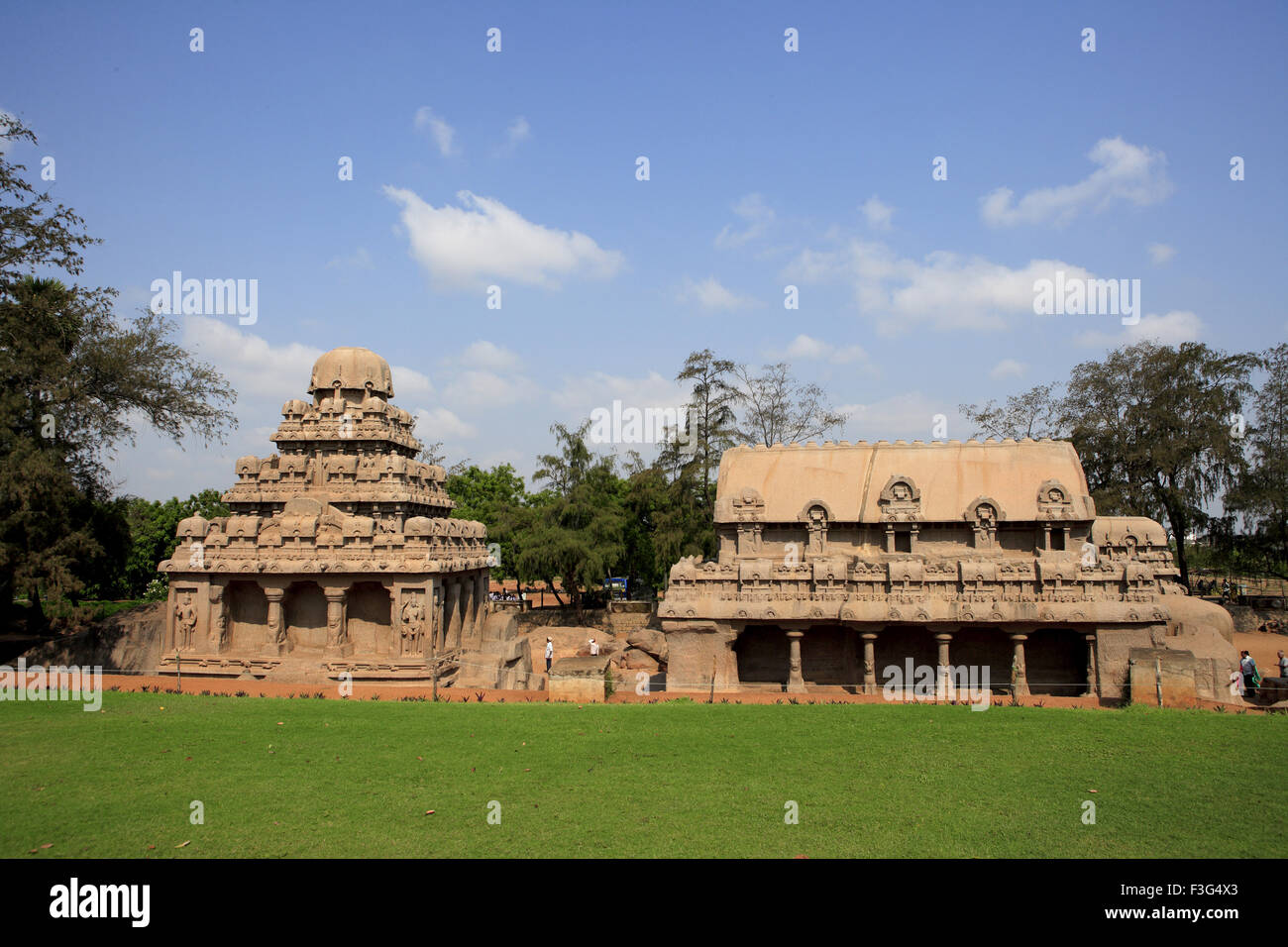 Pancha Rathas right Bhima Ratha left Dharmaraja Ratha carvedKing Mamalla temples ; Mahalipuram - Stock Image
