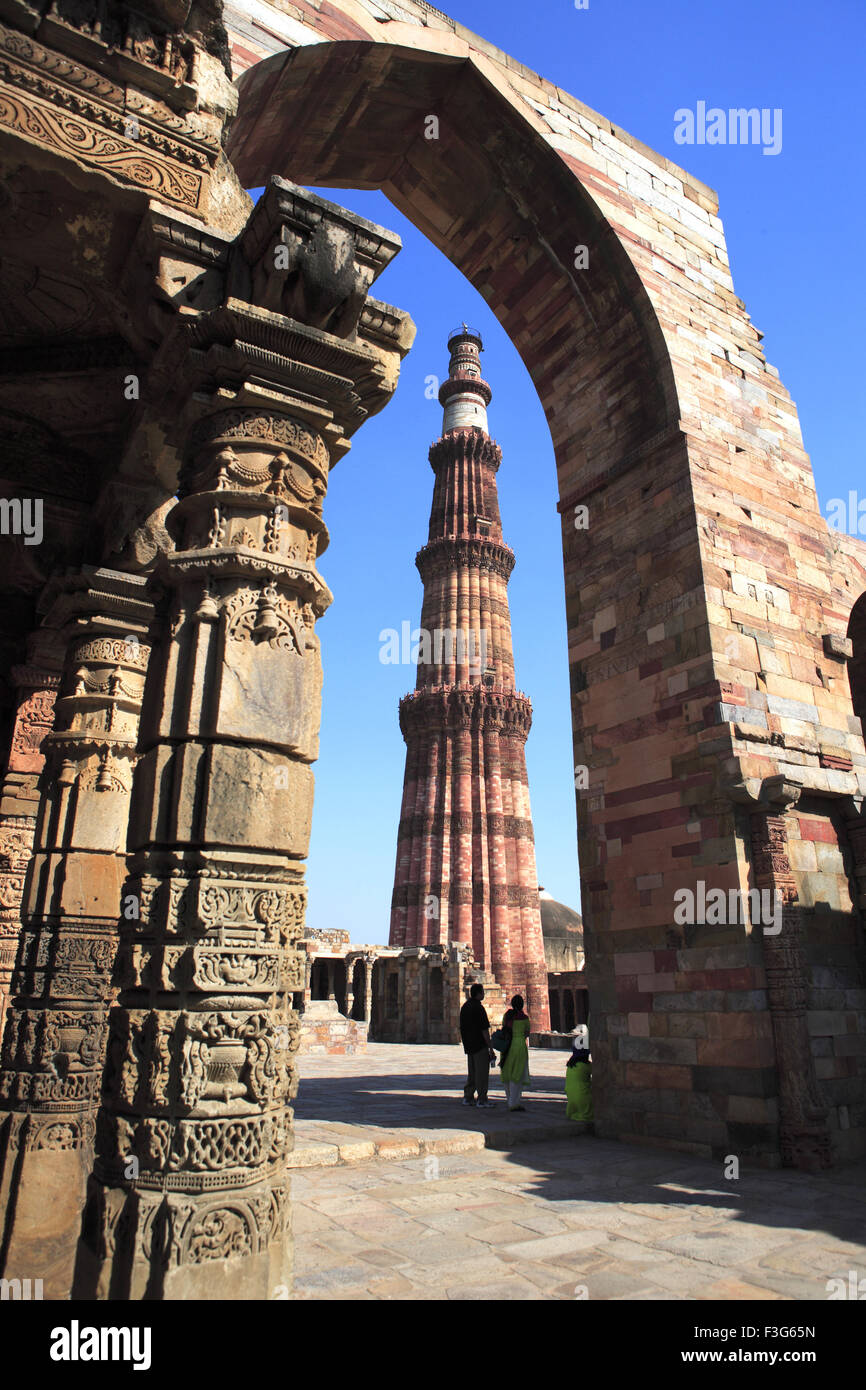 06c9c3be7380 Quwwat ul Islam mosque and Qutb Minar built in 1311 red sandstone tower   Indo  Muslim