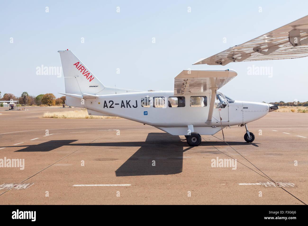 Mack Air Cessna 208 Caravan at Maun Airport, Botswana, southern Africa - Stock Image