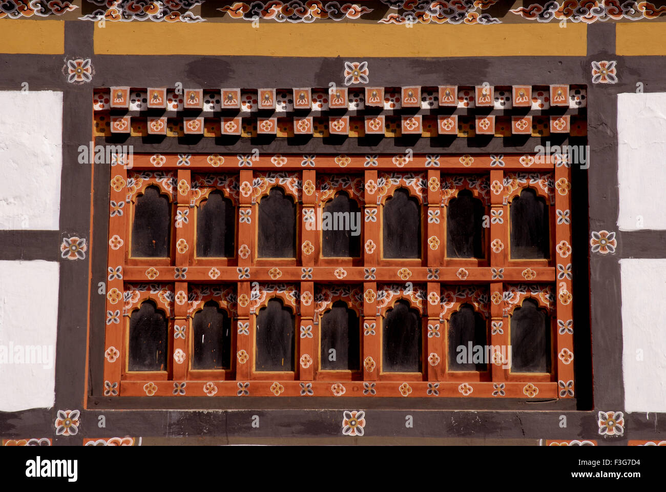 Decorative window of Bank of Bhutan Thimpu Br at Capital city Thimpu Royal Govt of Bhutan - Stock Image