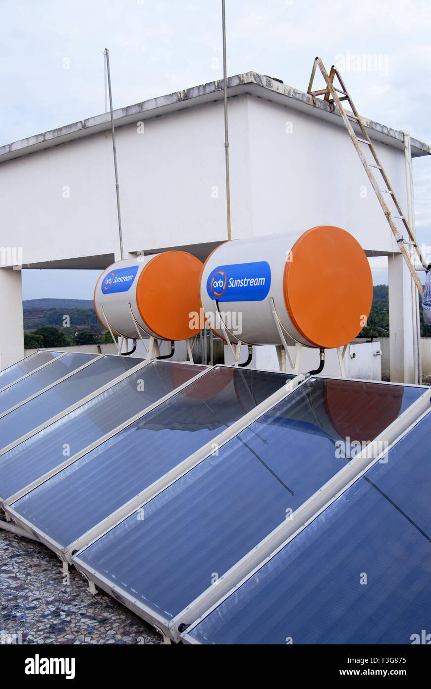 Solar water heaters in hotel at Kumta ; Karnataka ; India - Stock Image