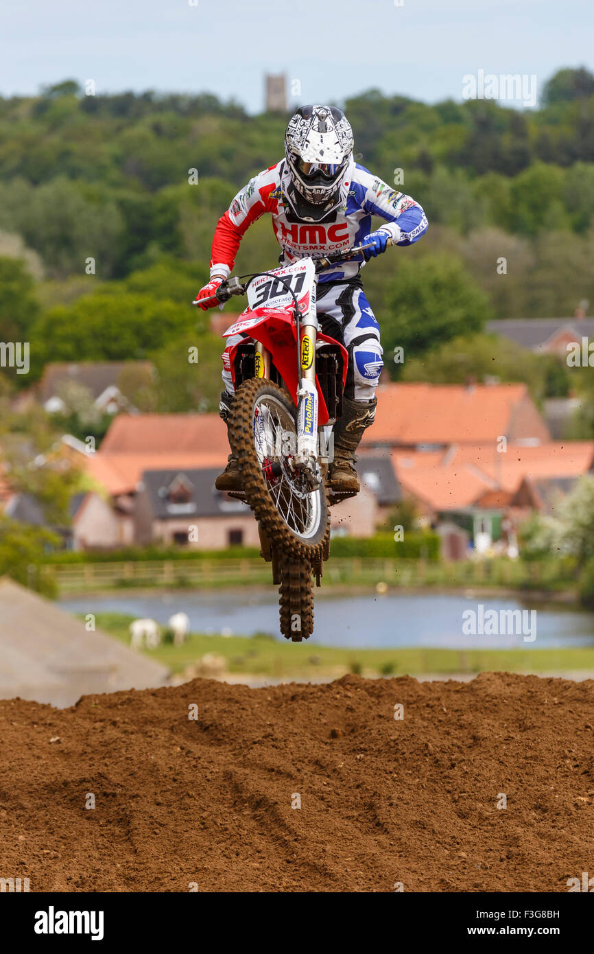 Shaun Southgate on his Honda 450 at the 2015 Eastern Centre ACU Solo Motocross Championship at Cadders Hill, Lyng, - Stock Image