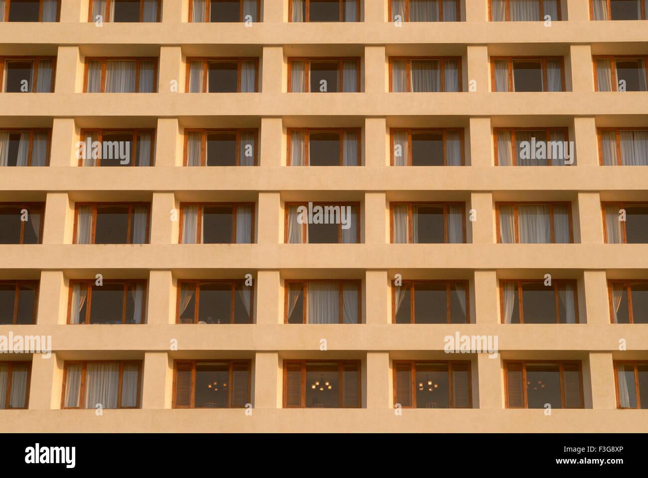 Close up of rectangular balconies of Hilton Tower (Oberoi hotel) ; Nariman Point ; Bombay now Mumbai ; Maharashtra - Stock Image