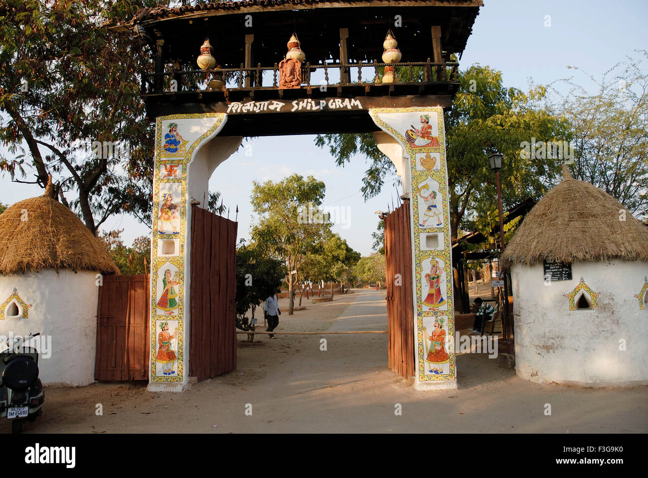 Shilpgram rural arts and crafts complex entrance gate Udaipur Rajasthan India - ngs 141094 - Stock Image