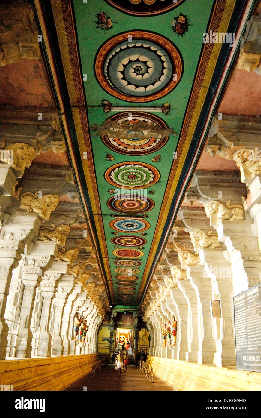 Richly decorated magnificent corridor at Rameswaram temple ; Char Dham ; Tamil Nadu ; India - Stock Image
