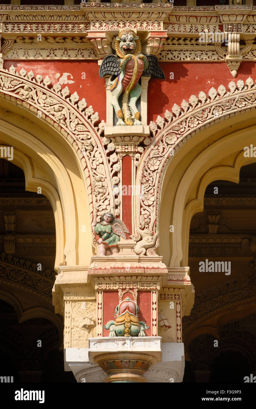 Close view of splendid stucco work at Thirumalai Nayak palace Indo Saracenic style at Madurai ; Tamil Nadu - Stock Image