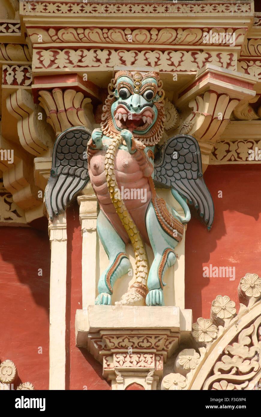 Close view of splendid stucco work at Thirumalai Nayak palace built in 1636 in the Indo Saracenic style at Madurai - Stock Image