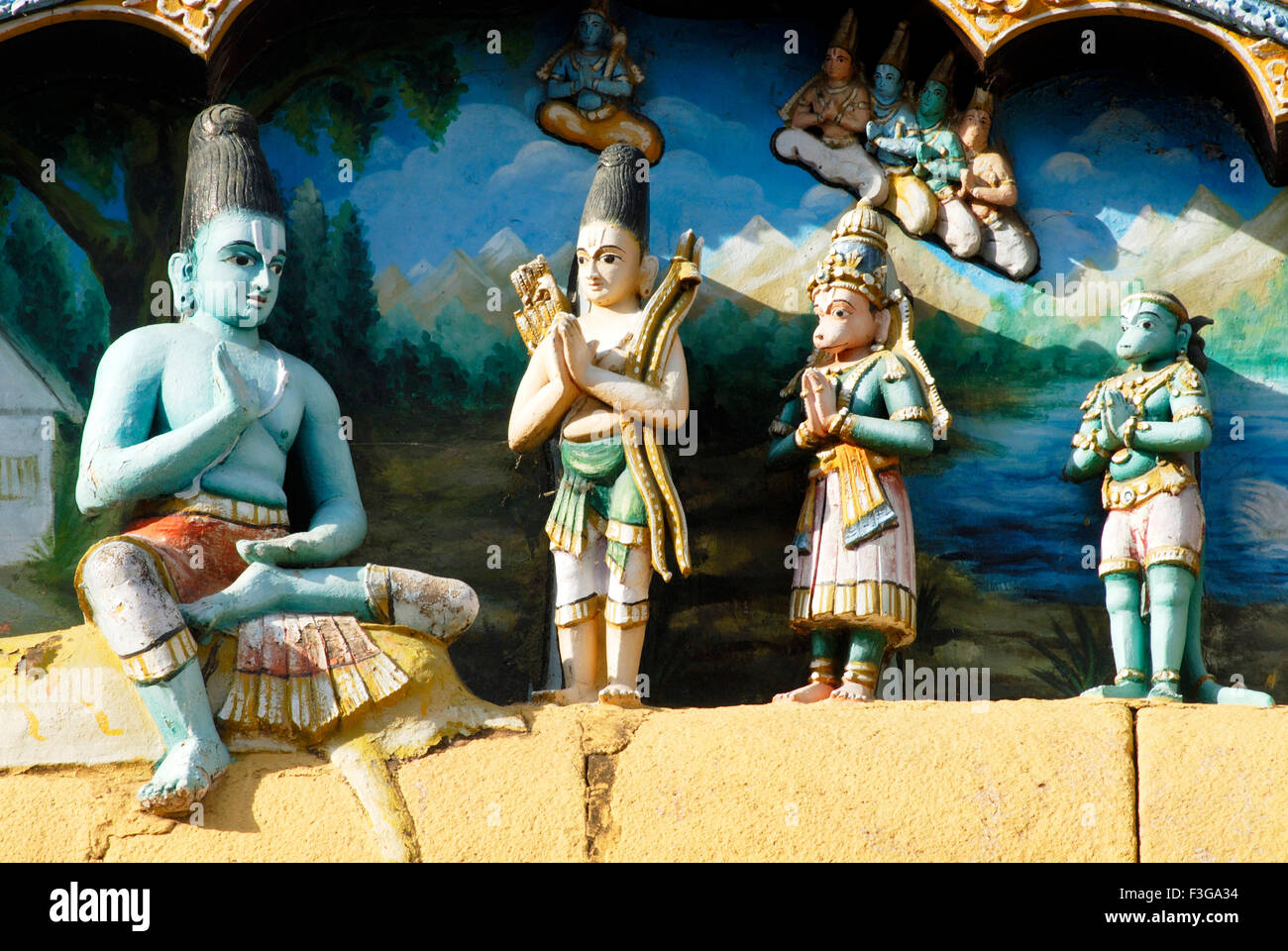 painted richly decorated stucco figures of Ramayana period on facade gigantic Sri Ranganathswami temple ; Tiruchirappalli - Stock Image