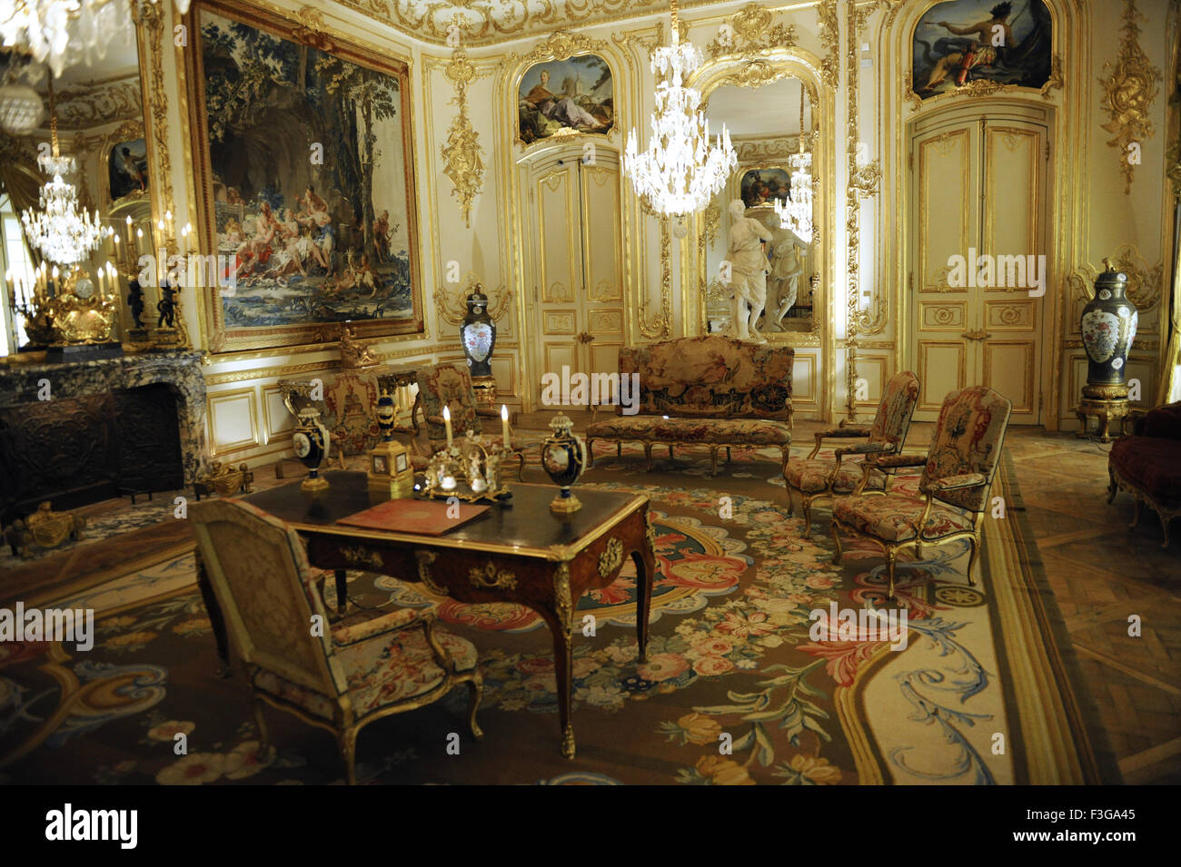 Israel Museum. Interior. Eighteenth century Venetian Room. Decoration and furniture. Jerusalem. - Stock Image