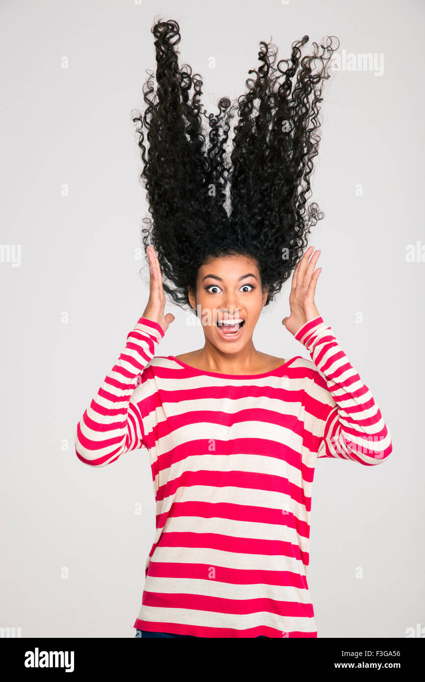 portriat of scared afro american woman screaming isolated on a white F3GA56 - Good funny afro photos