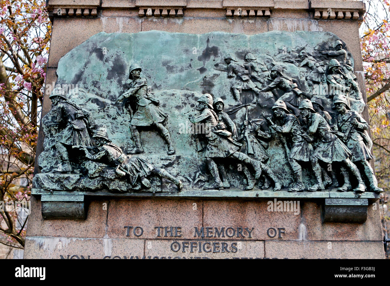 war scene depicted as a sculpture on a wall ; Edinburgh Castle ; Scotland ; U.K. United Kingdom England - Stock Image
