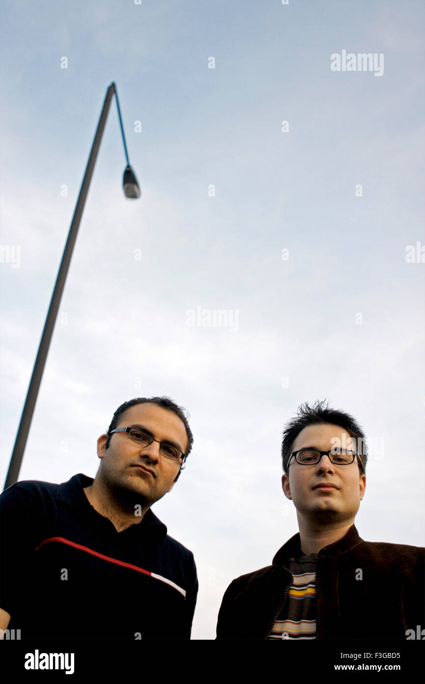 Band members of Grinds Chill music band Tushar Manek Indian and Dmitris Macridis from Greece Based in London ; U.K - Stock Image