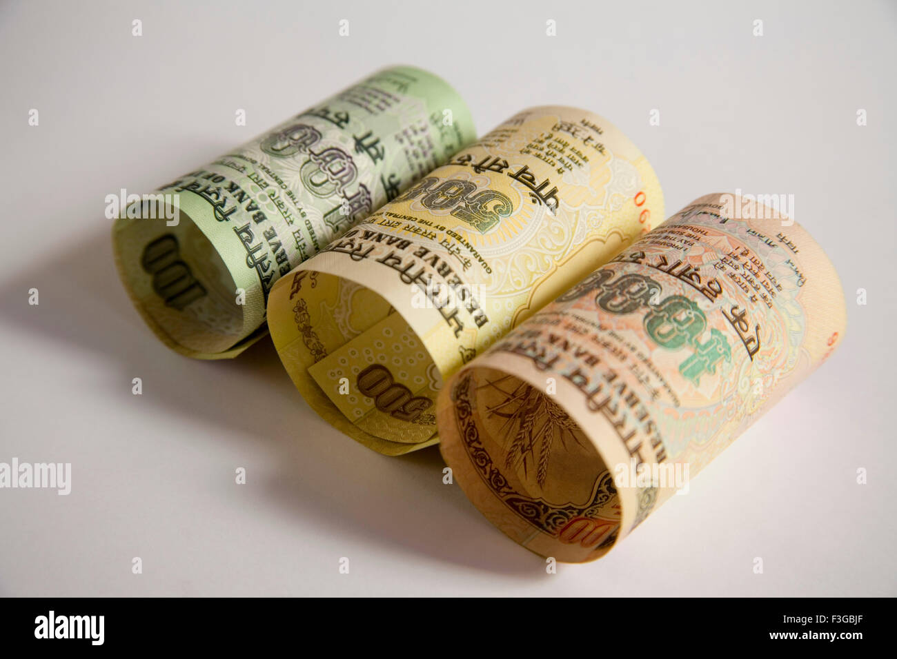 Indian currency one and five hundred one thousand rupees notes Reserve Bank Government of India show front side - Stock Image