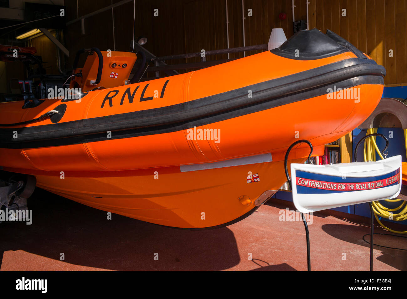 The RNLI B class lifeboat stationed at Staithes, North Yorkshire, England, UK - Stock Image