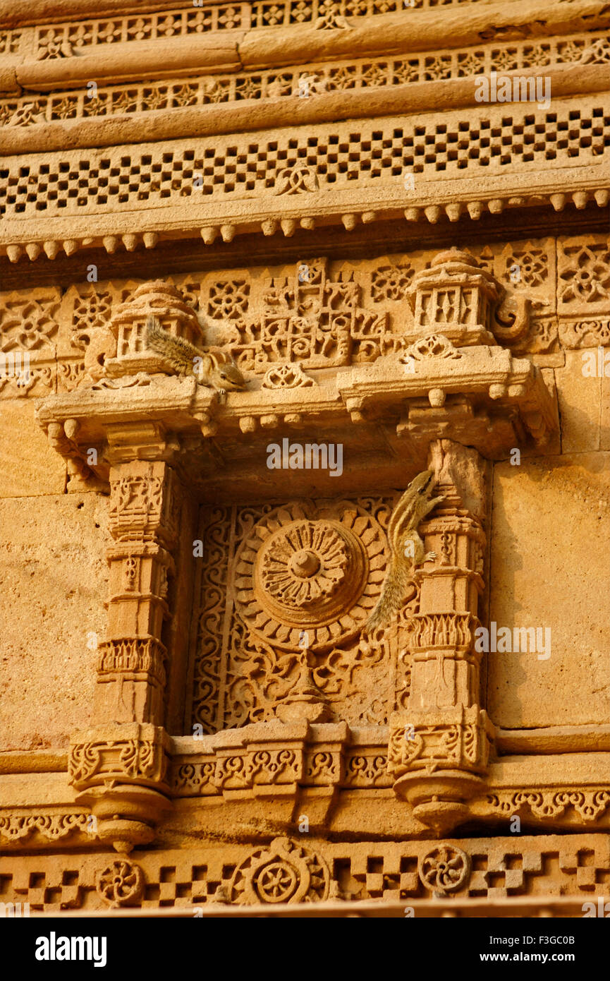 Carved panels on walls of Adalaj Vava step well built by Queen Rudabai Heritage Site ; Ahmedabad ; Gujarat ; India - Stock Image