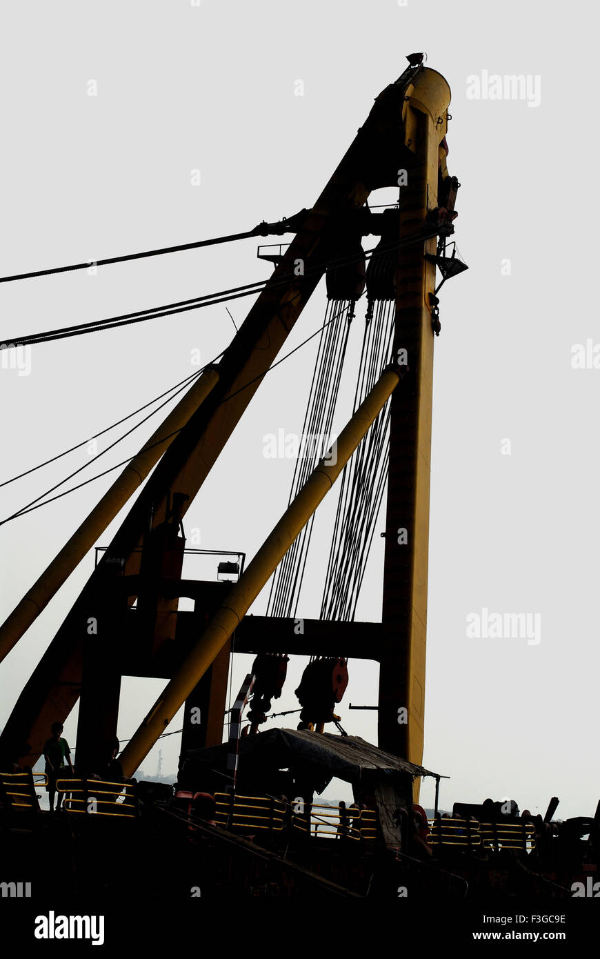 Asian Hercules floating crane having capacity 1600 metric tones erecting Bandra Worli sea ; Bombay Mumbai - Stock Image