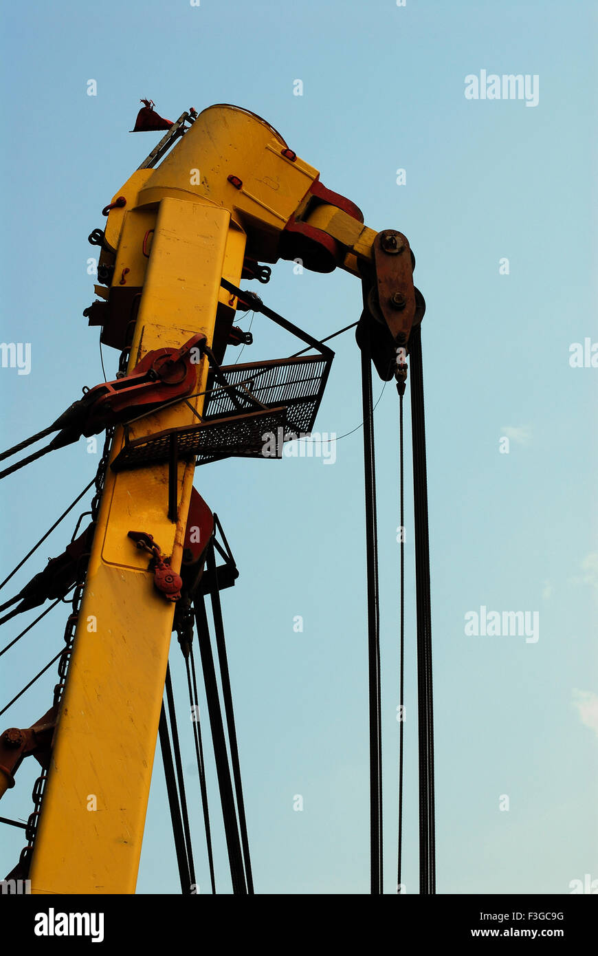Asian Hercules floating crane having capacity 1600 metric tones erecting Bandra Worli sea ; Bombay Mumbai ; Maharashtra Stock Photo