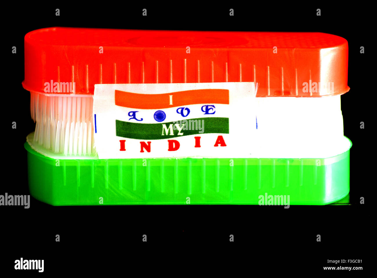 Indian Tricolor with title I Love my India - Stock Image