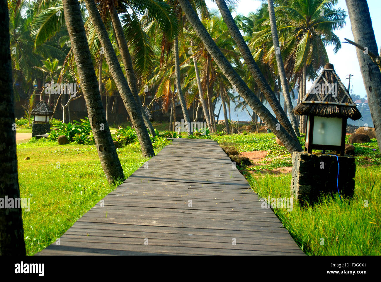 Road paths made by wood planks and marked by lamps on sides ; Trivandrum ; Kerala ; India - Stock Image