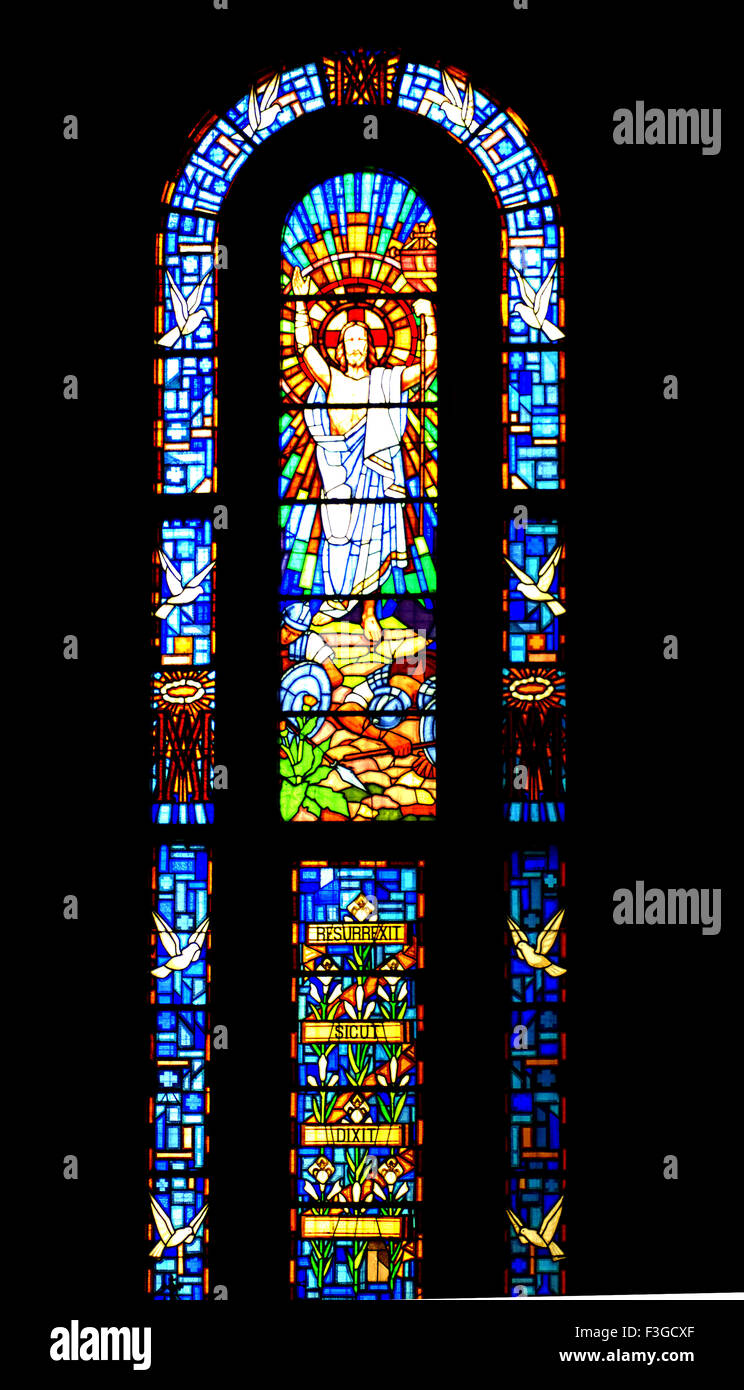 Jesus Christ risen from dead on stained glass - Stock Image