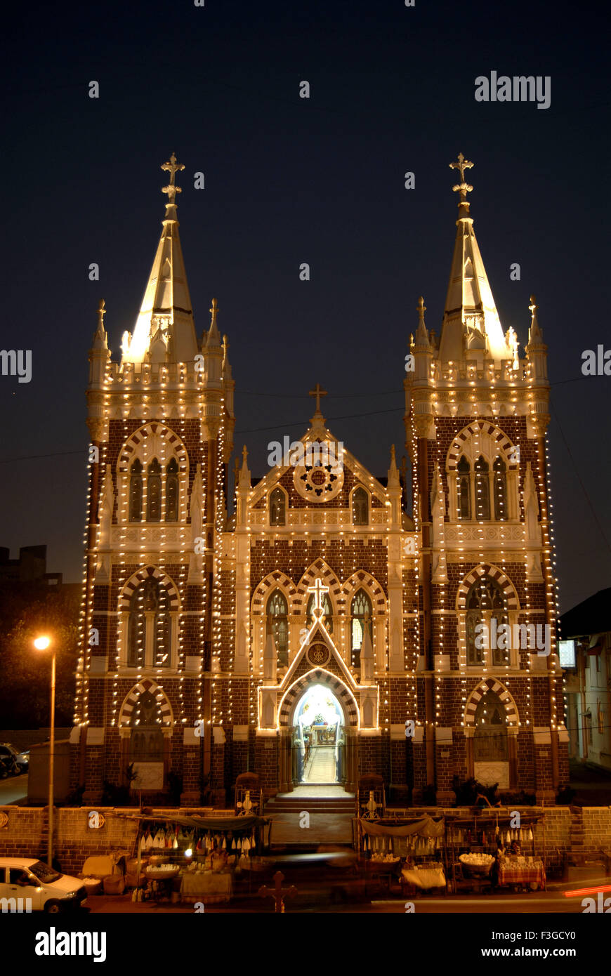 Mount Marry church built in 1904 ; Bandra ; Bombay now Mumbai ; Maharashtra ; India - Stock Image