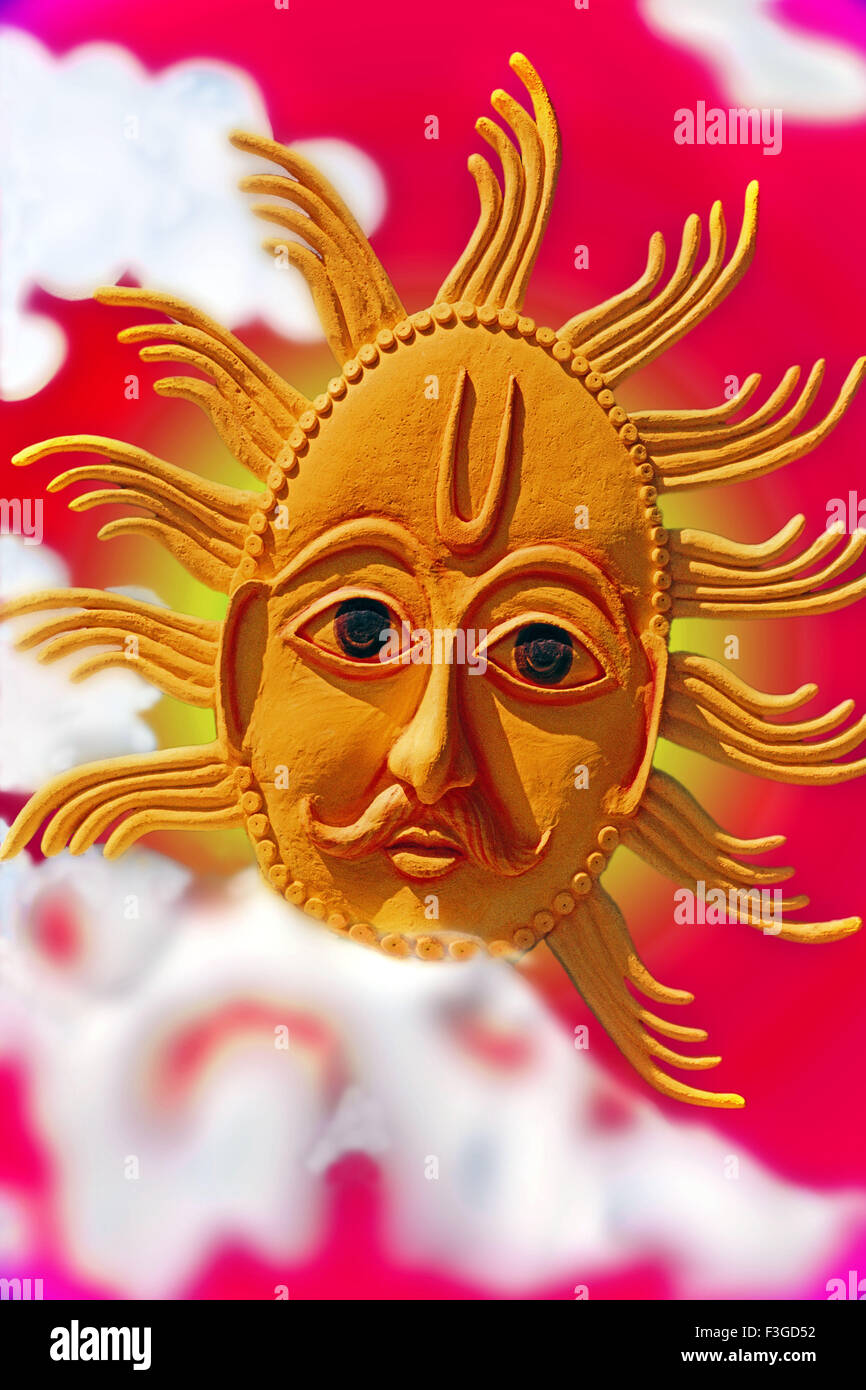 Representation of blazing Sun on artificial background - Stock Image