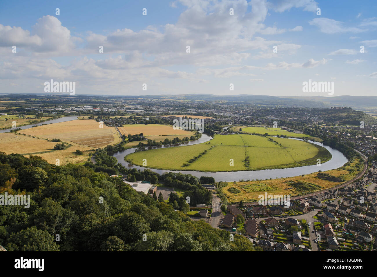 The River Forth and Stirling viewed from The National Wallace Monument, Stirling in Scotland Stock Photo