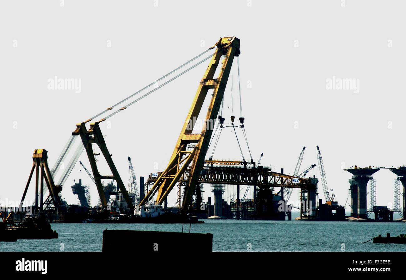 Asian Hercules 1600 Metric Tonnes Crane At Work On Bandra Sea Link ; Bombay Mumbai ; Maharashtra ; india - Stock Image