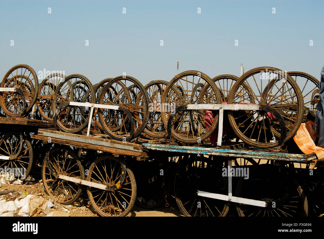 Cycle Carts discarded and Lying waste and Stacked on each other - Stock Image