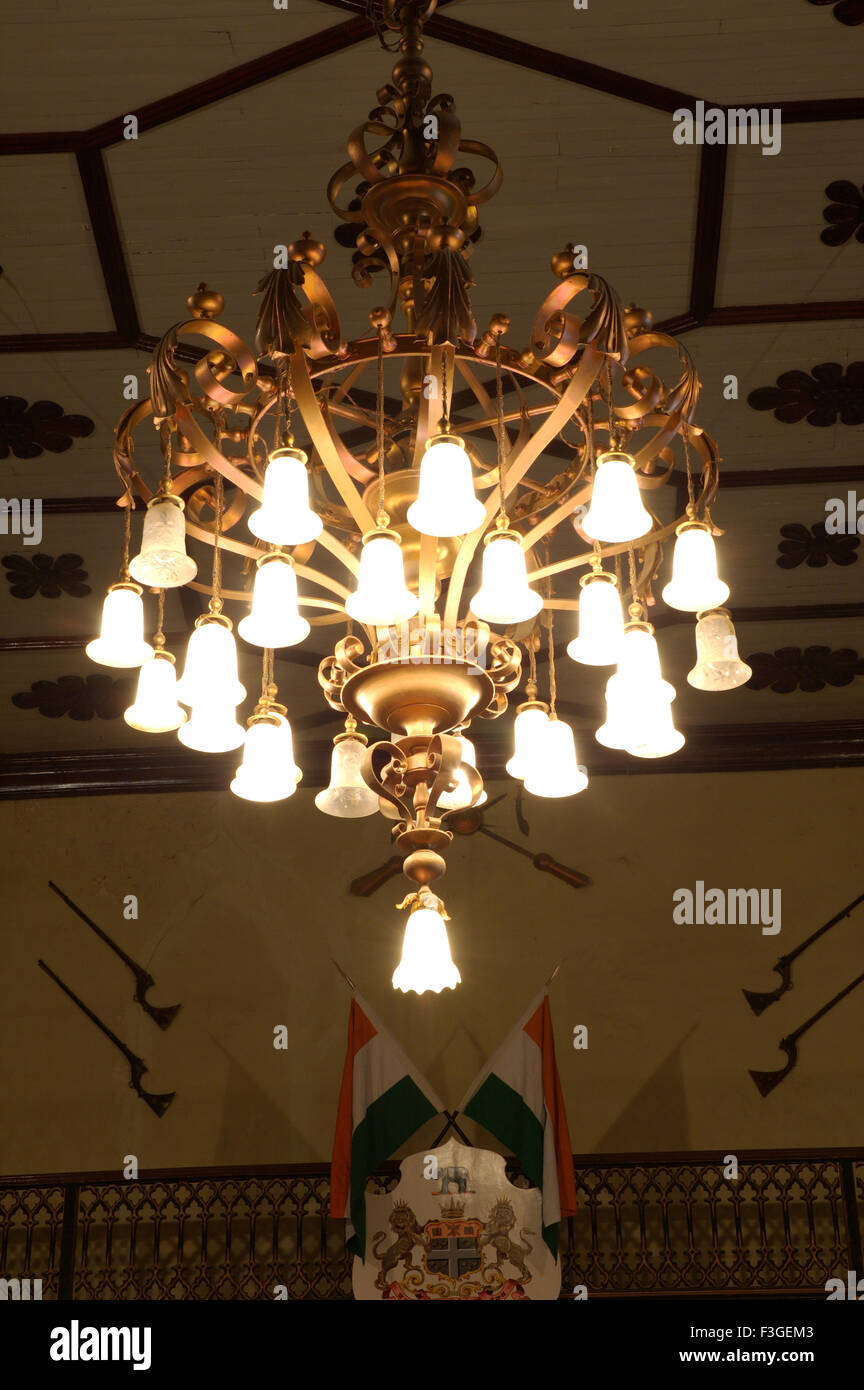 Antique chandelier in heritage property ; Gujarat ; India - Stock Image