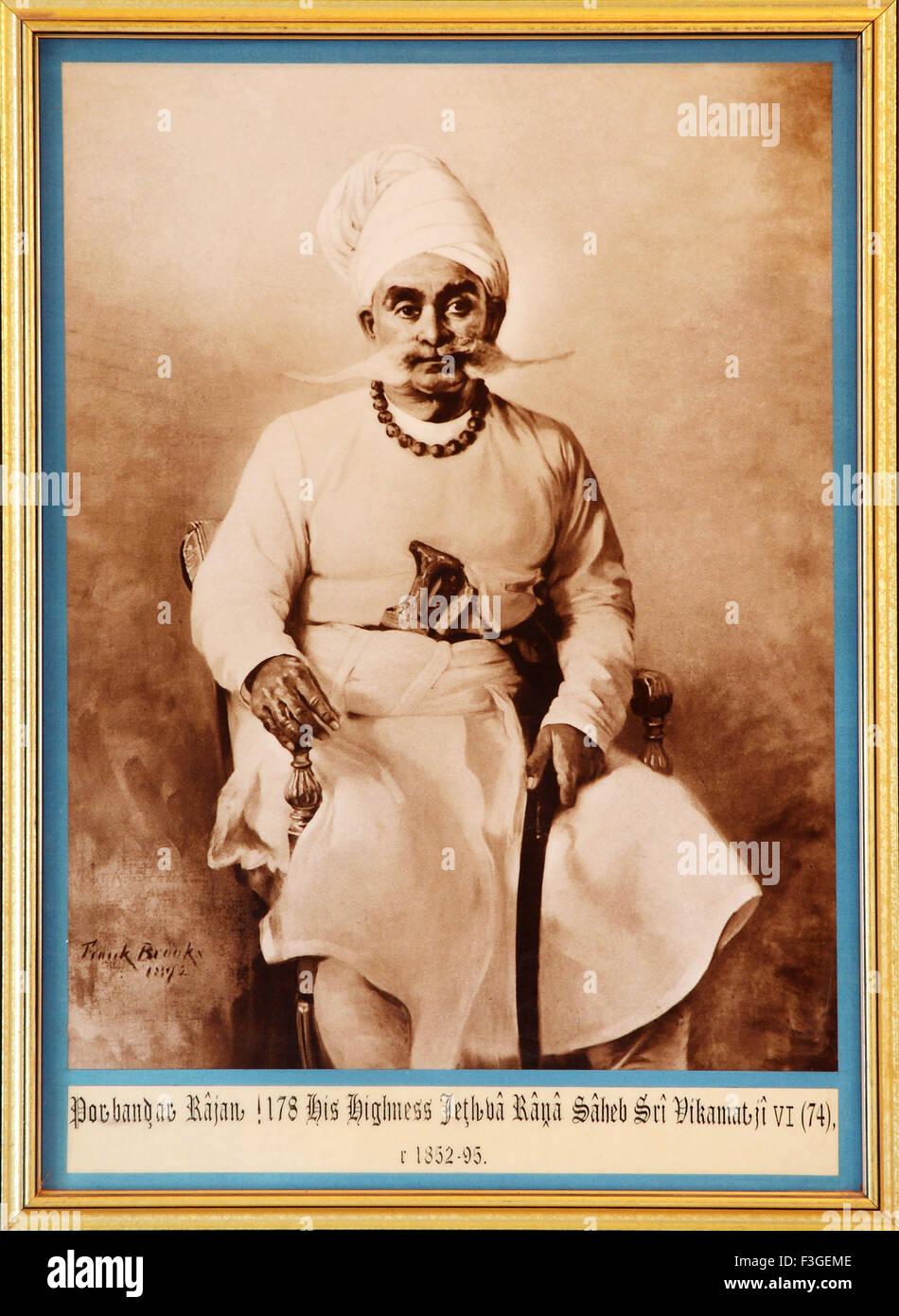 Painting and old royal portrait of Porbandar Rajan his highness Jeth ba Rana Saheb Sri Vikamat Ji VI 74 1852 95 - Stock Image