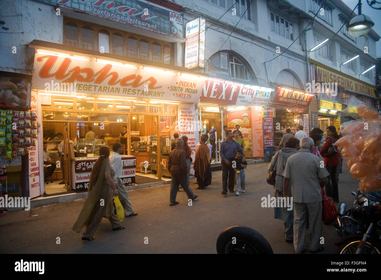 Mall road ; market on hill station ; Mussoorie ; Himalaya ; Uttranchal ; India - Stock Image