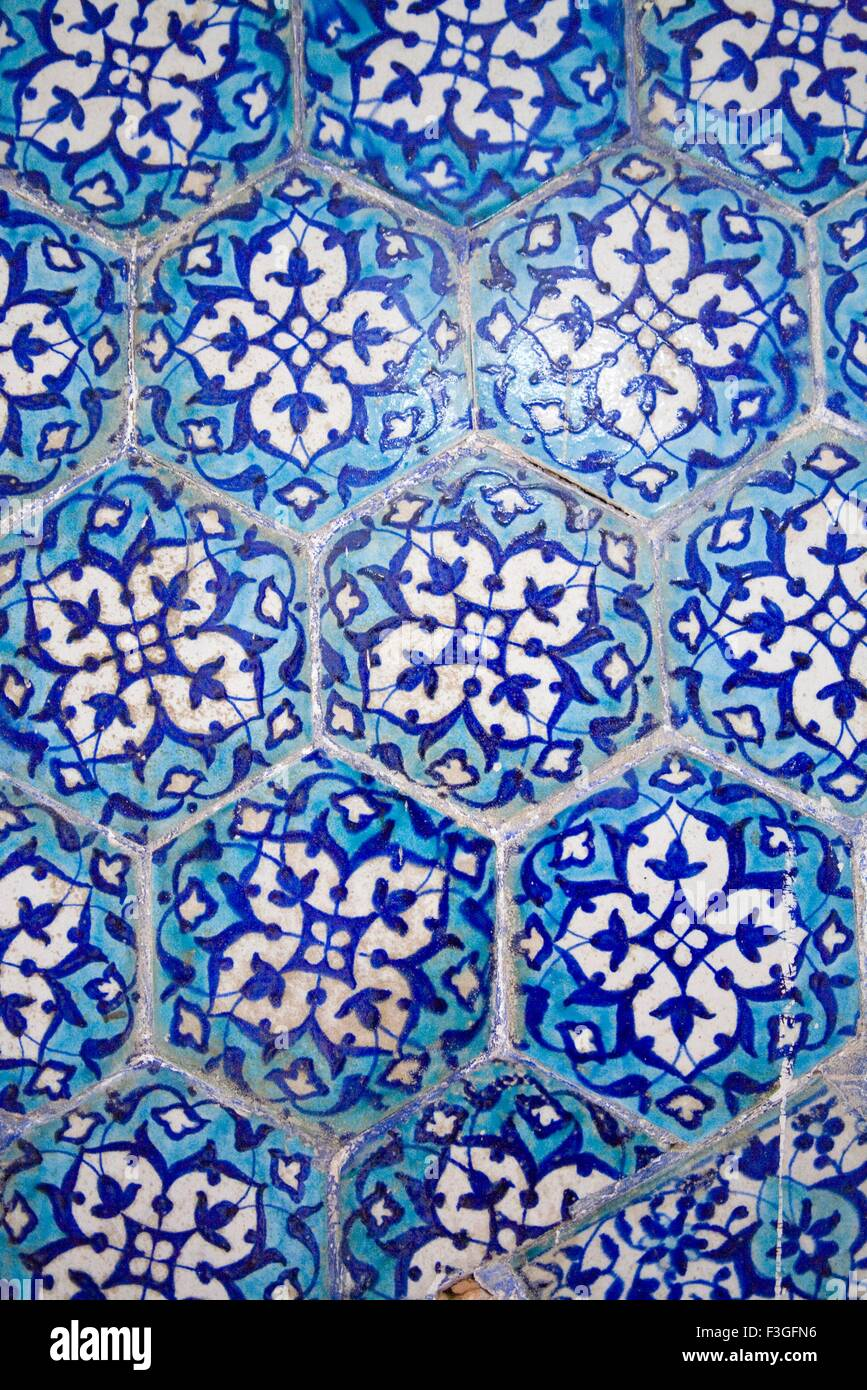 Decorative tiles at Lalbagh Fort ; Bangla a Muslim style of Architecture ; Dhaka ; Bangladesh - Stock Image