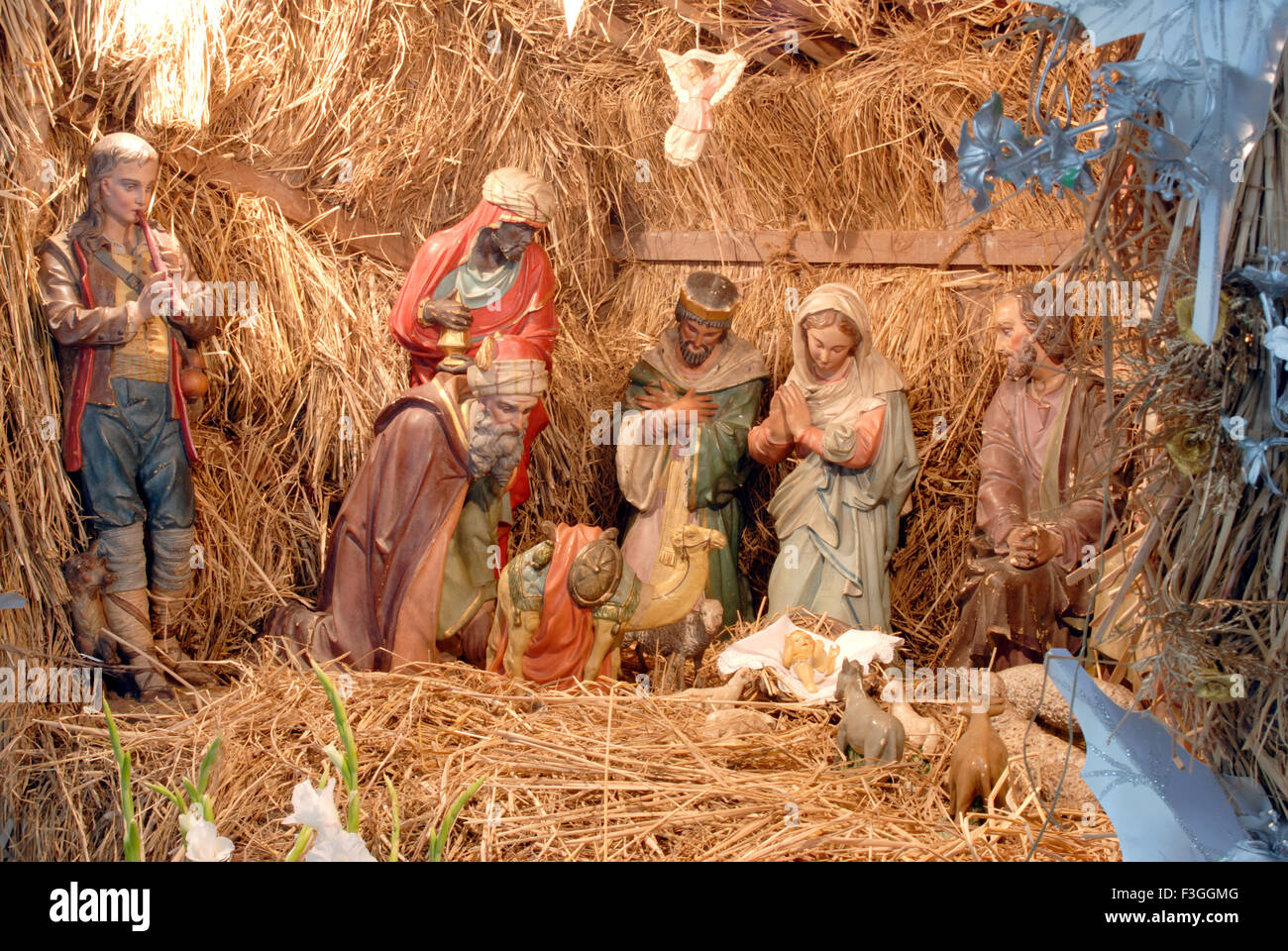 christmas festival decoration scene of jesus birth bombay now mumbai maharashtra