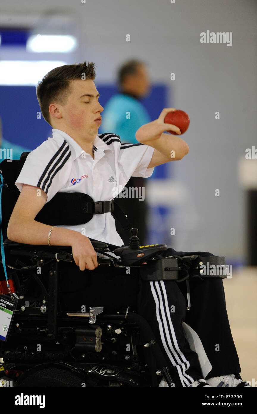 London, England, 12-05-05. Andrew MORGAN (GBR)  competes in the Boccia individual finals. - Stock Image