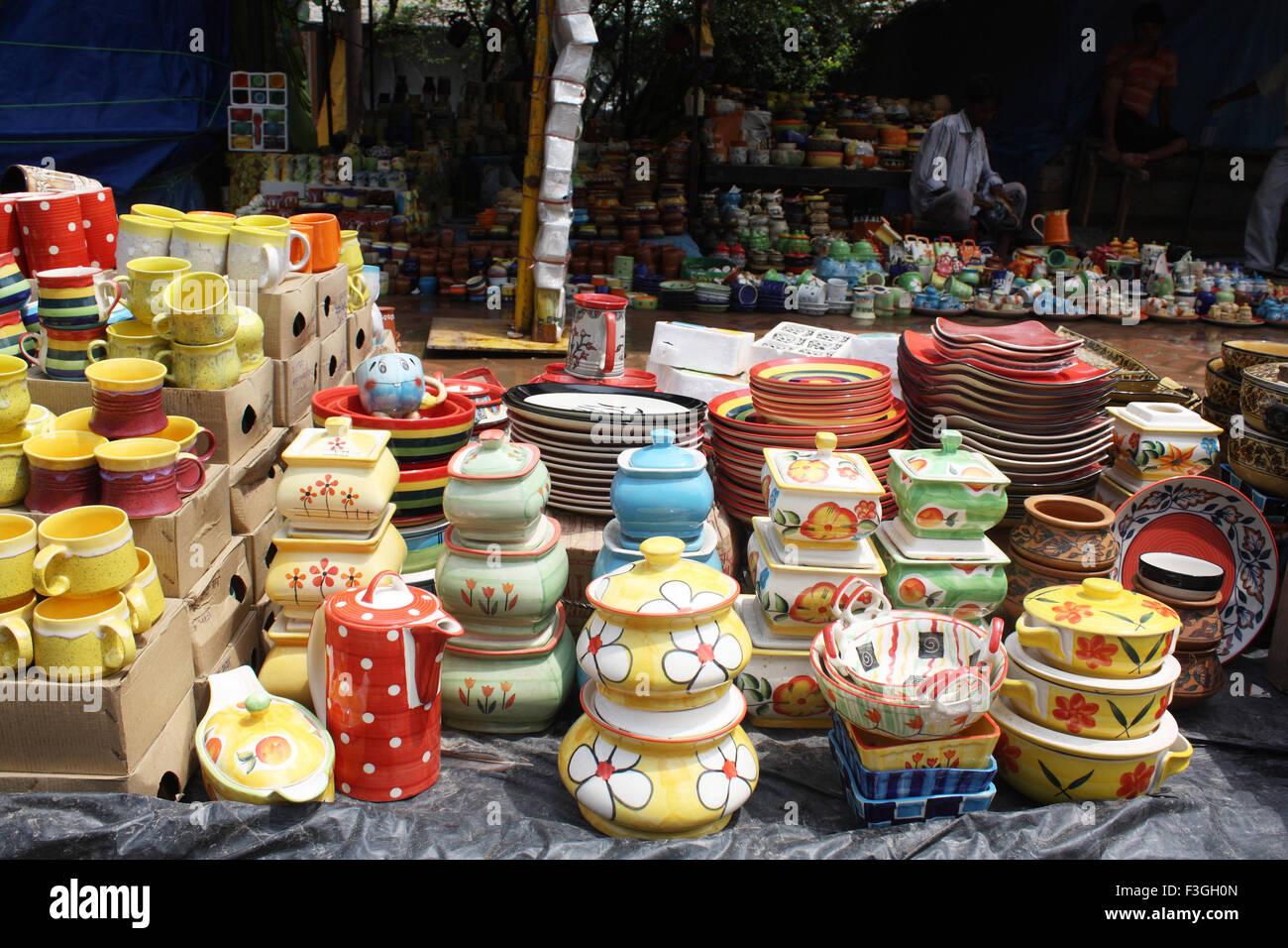 Earthen Pots Handicrafts Dilli Haat Market Delhi India Stock