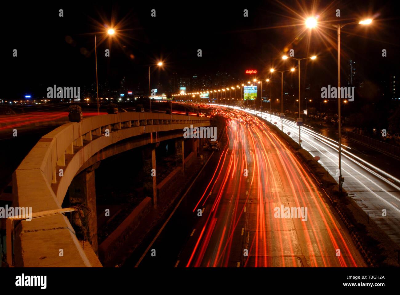 Light effect ; night view of marine drive ; Bombay Mumbai ; Maharashtra; India - Stock Image