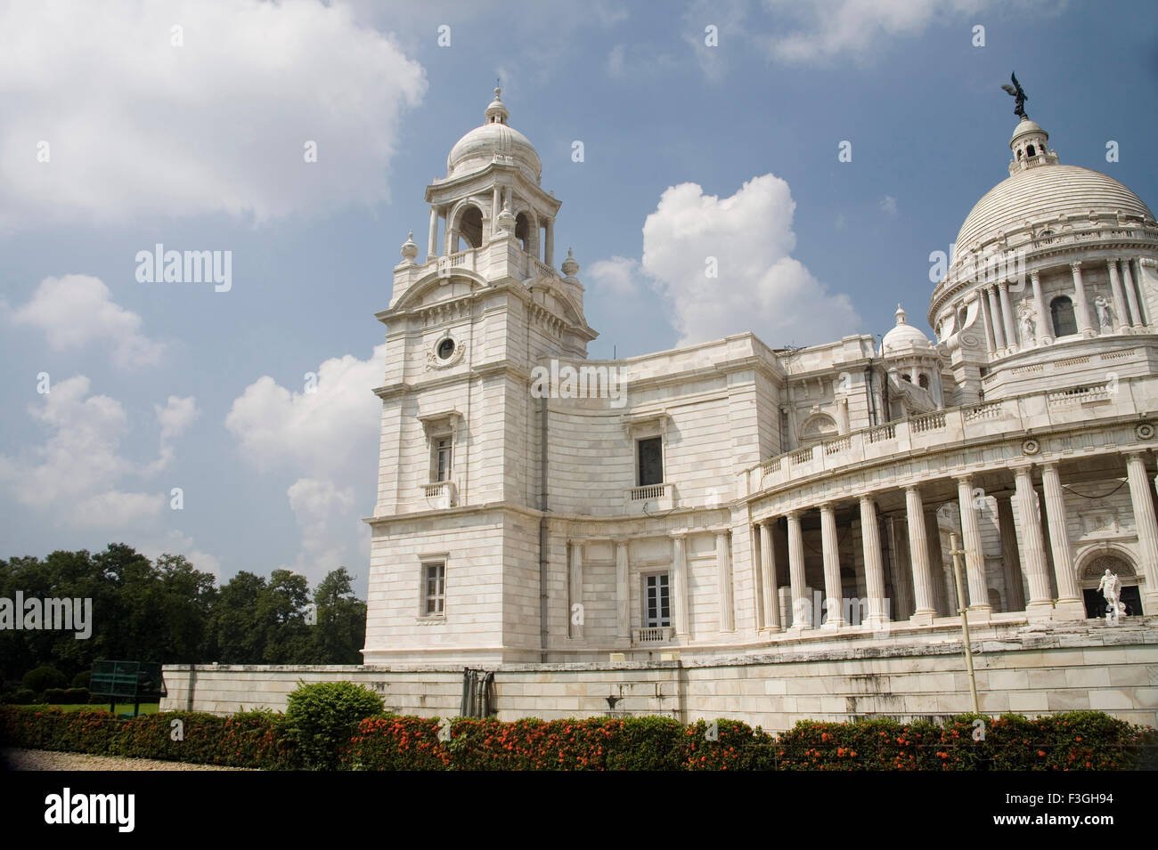 Victoria memorial Impressive reminder of Raj white marble museum house ; Calcutta now Kolkata ; West Bengal ; India - Stock Image
