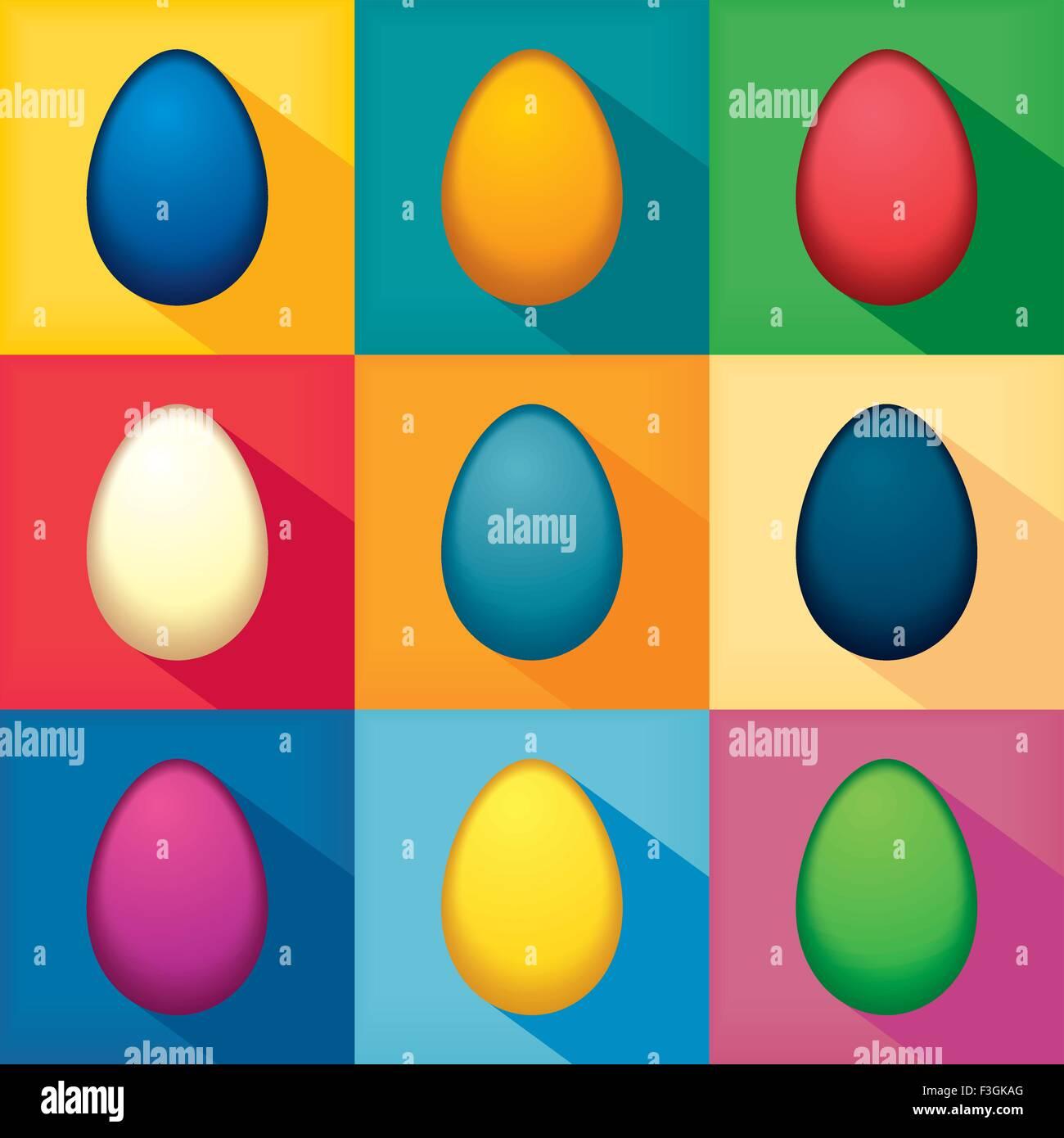 Flat pop art colorful eggs - Stock Image