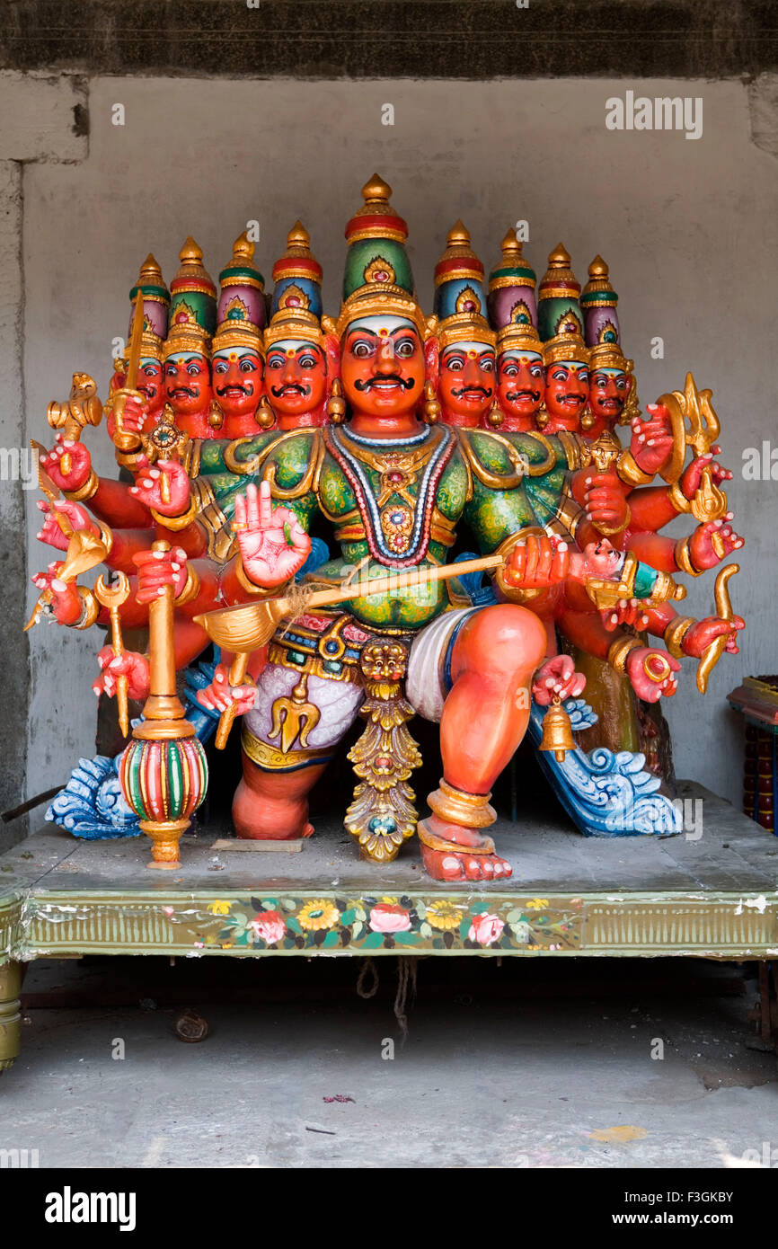 Statue of Ravana with eighteen hands and nine heads in temple in Chennai ; Tamil Nadu ; India - Stock Image