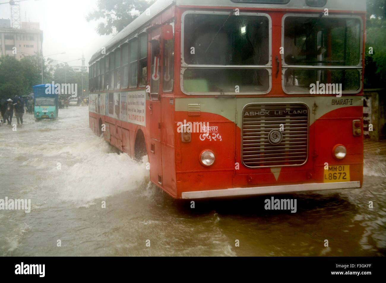 Season Monsoon water logging suburb road due heavy rain Mumbai dated 5th july 2006 ; Mumbai Bombay ; Maharashtra - Stock Image