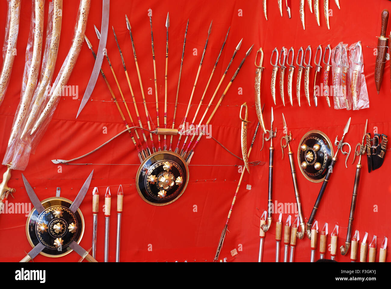 Weapons for sale ; Pushkar fair ; Rajasthan ; India - Stock Image