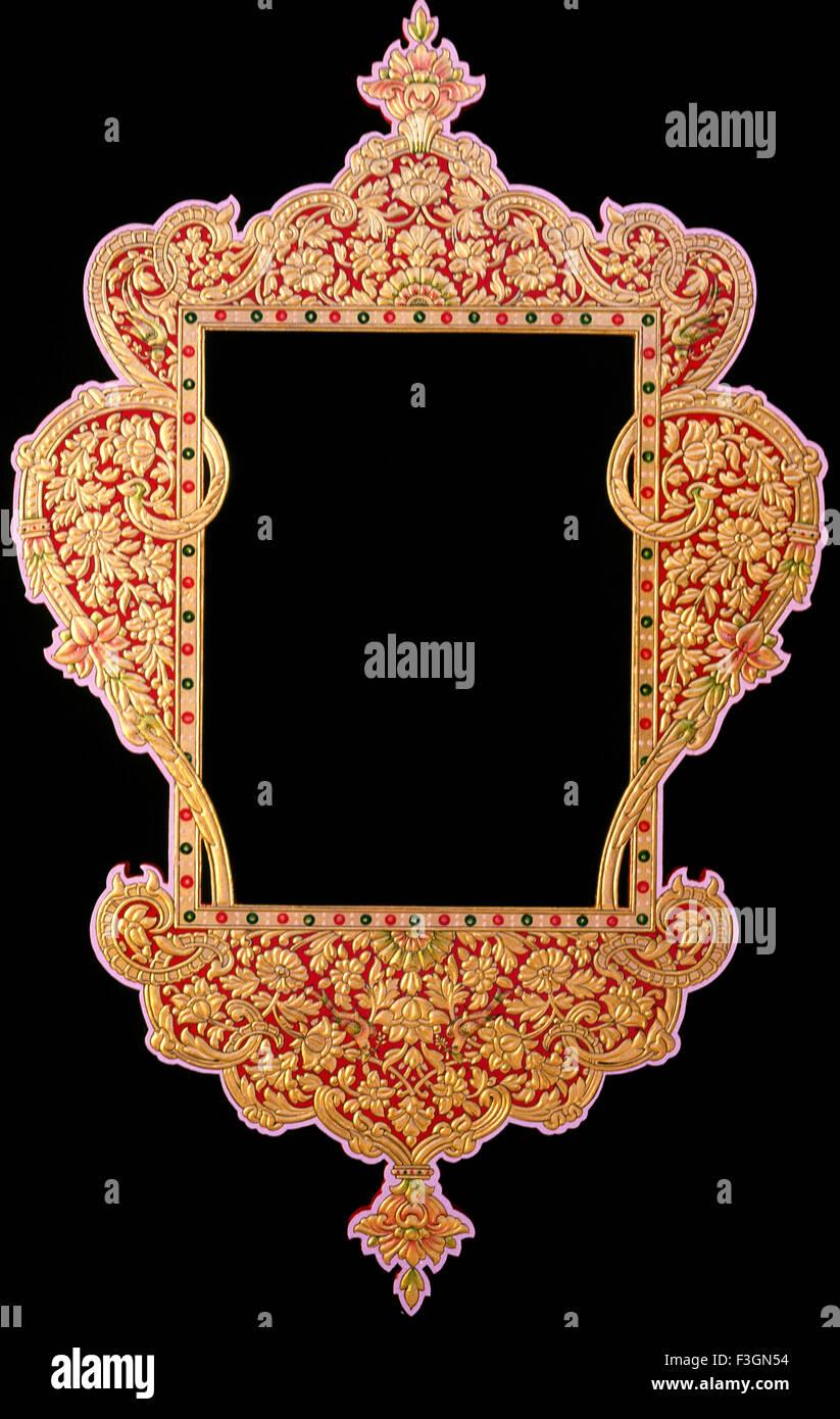 Usta Art Bikaner by Artist Asgar Ali Usta gold work or mancuin art on frame on black background - Stock Image