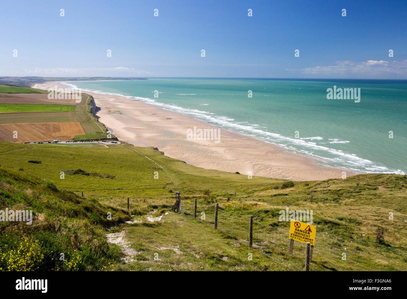 A view of the coastline near Calais, France looking west - Stock Image